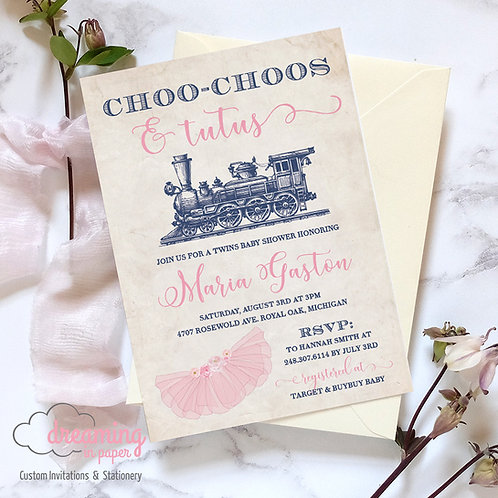 Tutus and Choo Choos Boy Girl Twins Baby Shower Invitation
