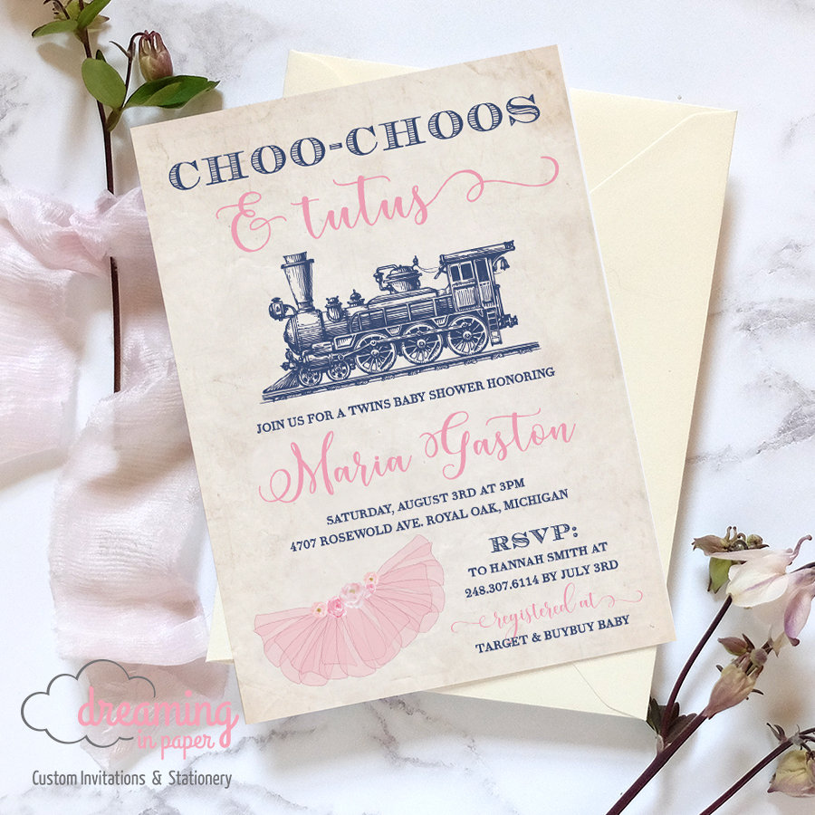 Tutus And Choo Choos Boy Girl Twins Baby Shower Invitation Dreaminginpaper