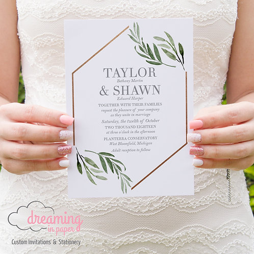 Geometric Hexagon Greenery Copper Wedding Invitation Set