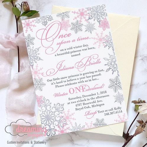 Snow Princess Winter ONEderland Glittering Birthday Invitation