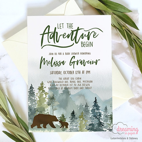 Rustic Mountain Baby Shower, Baby Bear Baby Shower, Mama Baby Bear, Baby Shower Invites