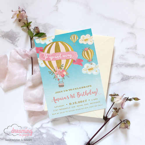 Up up and away hot air balloon birthday invitation birthday invitation hot air balloon girl pink blue filmwisefo