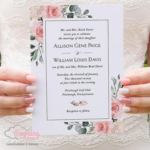 Blush Floral Greenery Sunny Lisima Classic Wedding Invitations 363