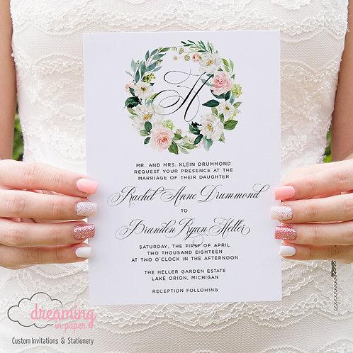Blush Floral Wreath Monogram Wedding Invitations 167