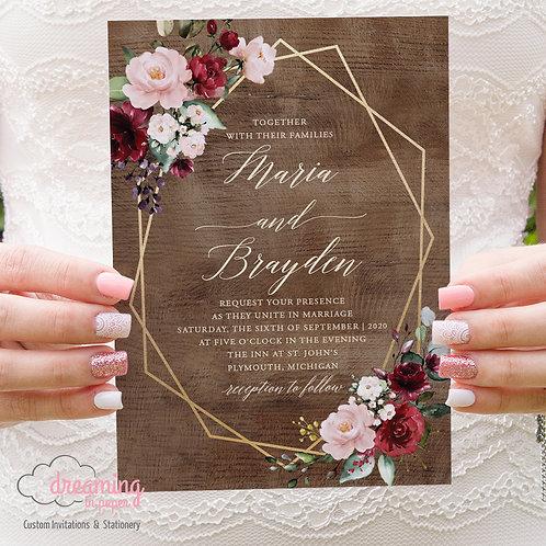Rustic Wood Burgundy and Blush Lisima Wedding Invitations 312