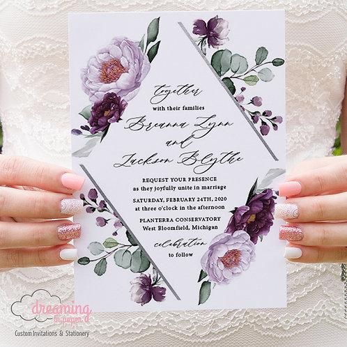 Lavender and Deep Purple Diamond Wedding Invitation Set 383