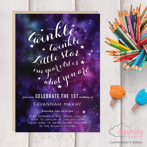 Twinkle Twinkle Galaxy Space Birthday Invitation - Any age!