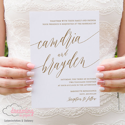 Modern Script Wedding Invitations 203