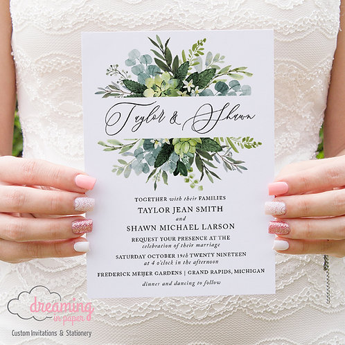 Bursting Greenery & Succulents Wedding Invitations 240