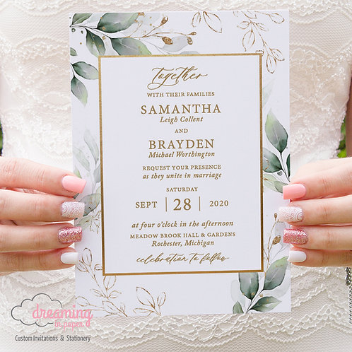 Greenery Golden Rectangle Wedding Invitations 326