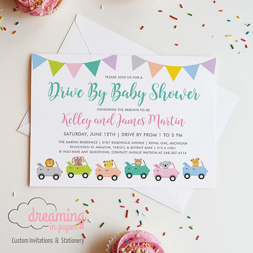 Drive By Animal Parade Baby Shower Invitations