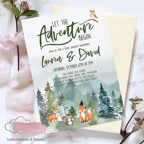 Mountain Baby Shower, Forest Animals Baby Shower, Woodland Baby Shower, Gender Neutral Shower, Baby Shower Invites