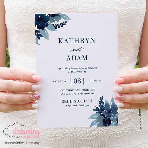 Claire Navy Floral Modern Wedding Invitation