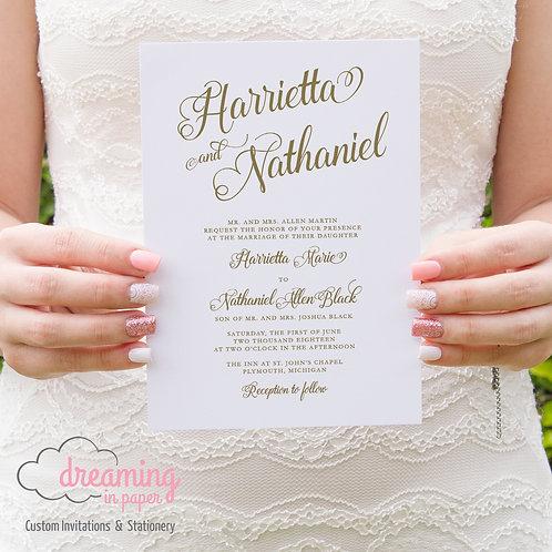 Classic Brittany Modern Script Wedding Invitation Set