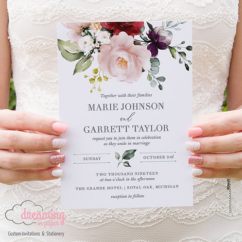 Blush Floral Lisima Classic Wedding Invitations 271