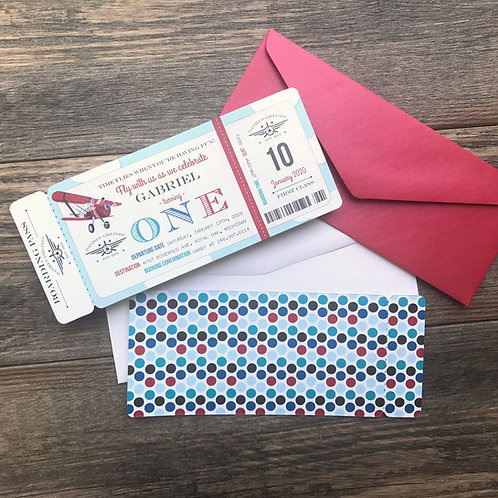 Vintage Airplane Die Cut Boarding Pass Birthday Invitation
