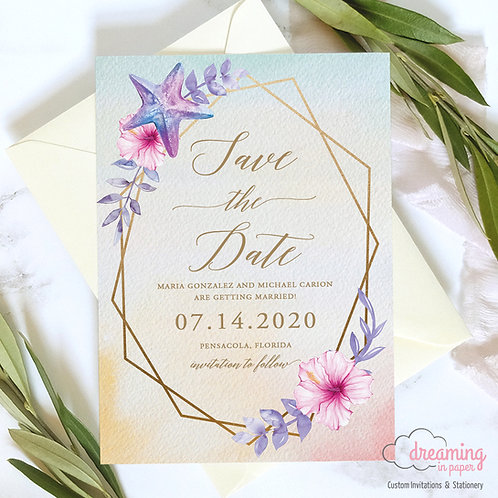 beach save the date, watercolor save the date, destination wedding, gold geometric wedding, tropical save the date