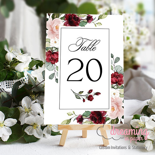 Classic Lisima Burgundy Blush Table Numbers