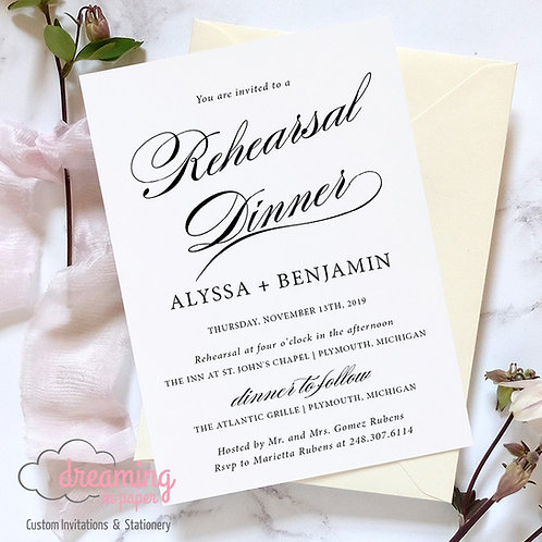 Scroll Script Rehearsal Dinner Invitation