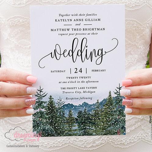 Rustic Mountain Lake Winter Wedding Invitations 310