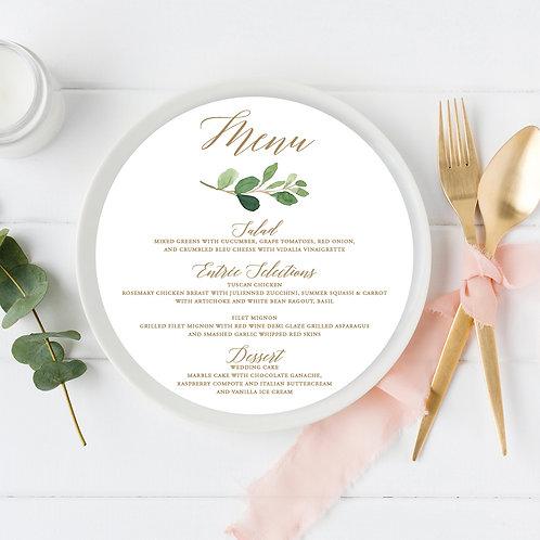 Greenery Branch Circle Wedding Menu Card