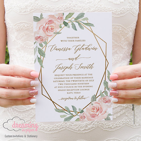 Blush Roses & Greenery Gold Geometric Wedding Invitations 239