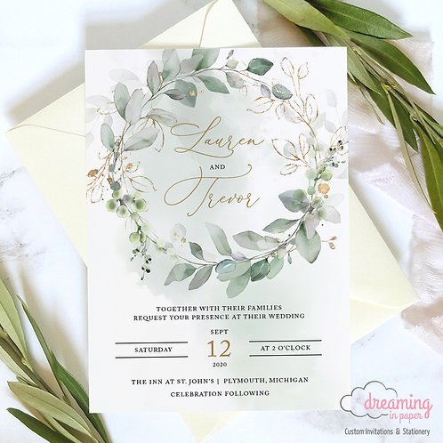 Golden Greenery Wreath Wedding Invitations 341