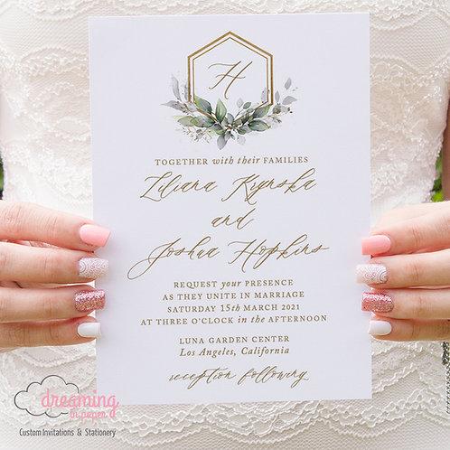 Gold Hexagon Wedding Crest Greenery Wedding Invitations 389