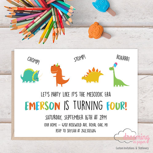 Modern Dinosaur - Dinomite Birthday Invitation