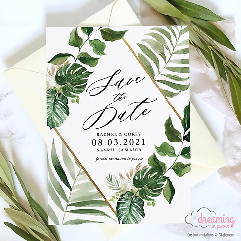 Tropical Opia Golden Diamond Save the Dates