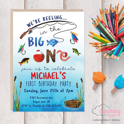 Reeling in the BIG ONE Fishing Birthday Invitation