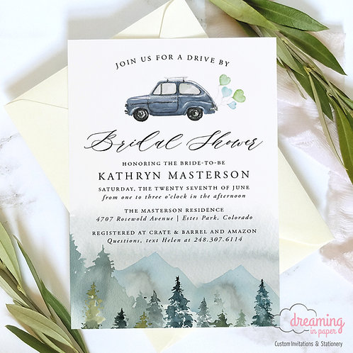 Rustic Mountains Drive By Bridal Shower Invitations