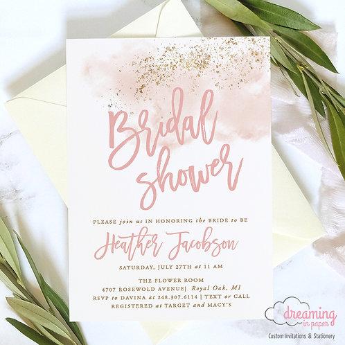 Blush Pink Watercolor Gold Splatter Bridal Shower Invitations