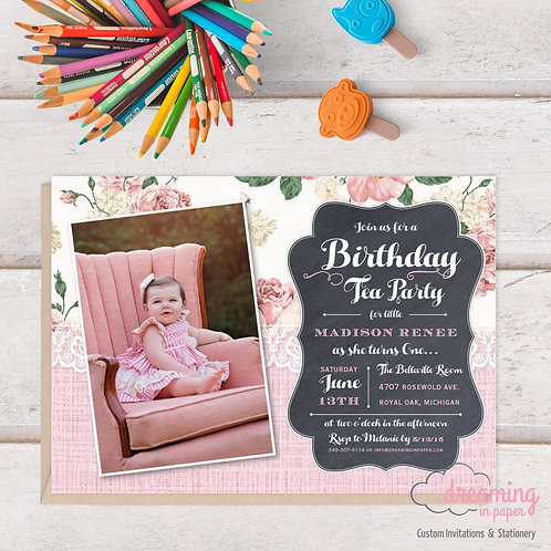 Lace and Burlap Rustic Chalkboard Photo Birthday Invitation