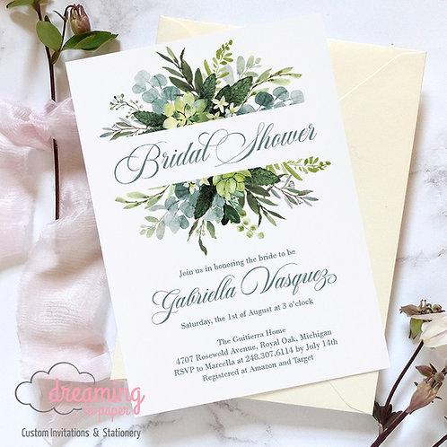 Bursting Eucalyptus Greenery and Succulents Bridal Shower Invitation
