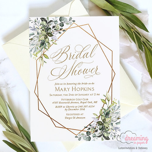 Greenery Gold Geometric Herbal Lisima Bridal Shower Invitation 333