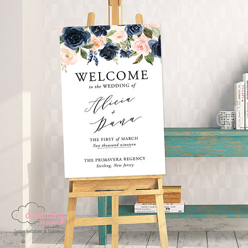 Navy Blush Ella Poetic Welcome Sign 226