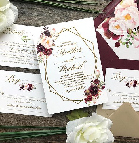 Raised Gold Ink Boho Marsala Geometric Wedding Invitation