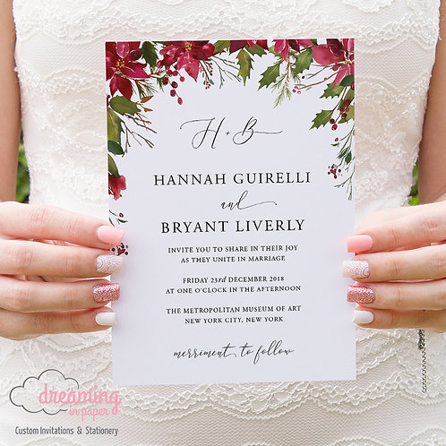 Christmas Floral Monogram Wedding Invitations