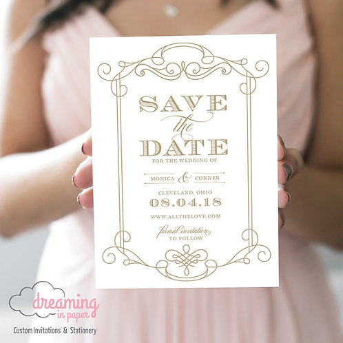 Vintage Swirls Save the Dates - Any ink color!