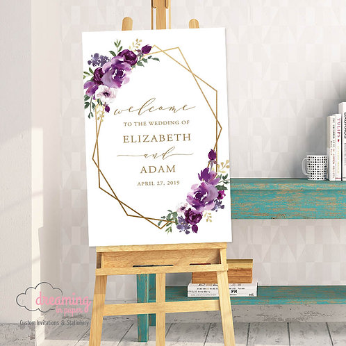 Purple Plum Floral Geometric Welcome Sign