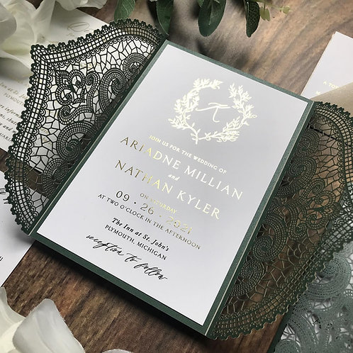 Emerald Green Lasercut Gatefold Foil Wedding Invitations 359