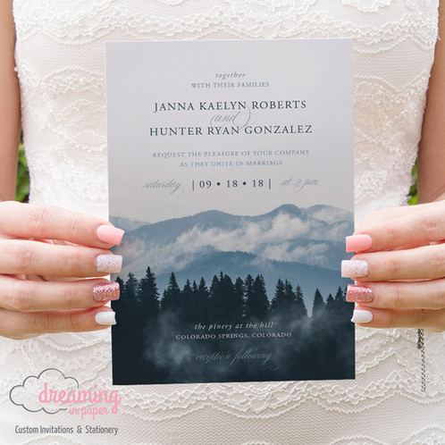 mountain landscape rustic wedding invitation