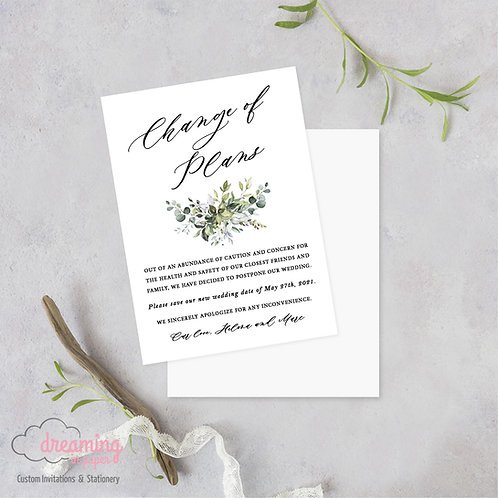 Bursting Greenery Change of Plans Wedding Date Change Postponement Cards