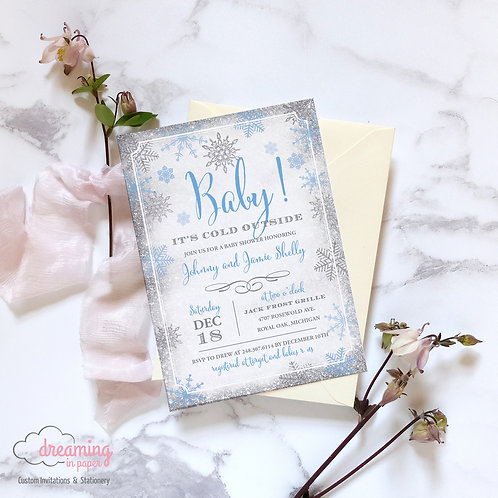 Baby It's Cold Outside Baby Shower Invite - Pink or Blue!