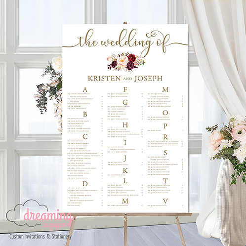 Boho Marsala Miracle Gold Seating Chart