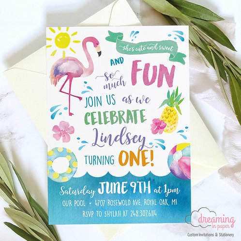 Flamingo Pineapple Tropical Pool Party Birthday Invitation