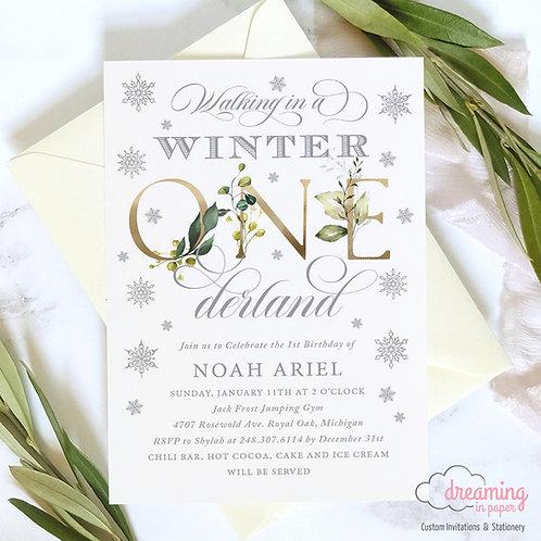 Winter ONEderland Wonderland Greenery Silver Gold Birthday Invitations