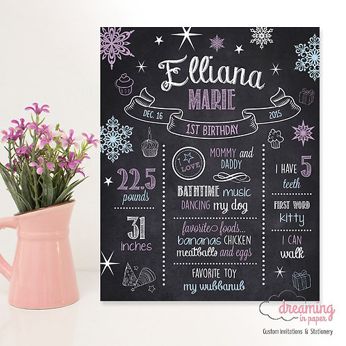 Winter ONEderland Birthday Milestone Chart Purple Blue