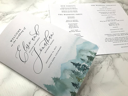 Rustic Mountain Forest Booklet Wedding Programs 217